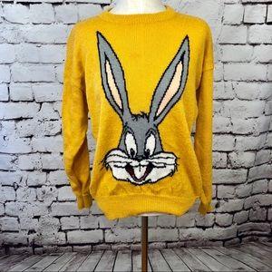 Vintage Looney Tunes Bugs Bunny Mustard Sweater
